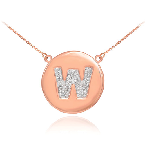 """14k Rose Gold Letter """"W"""" Initial Diamond Disc Necklace"""