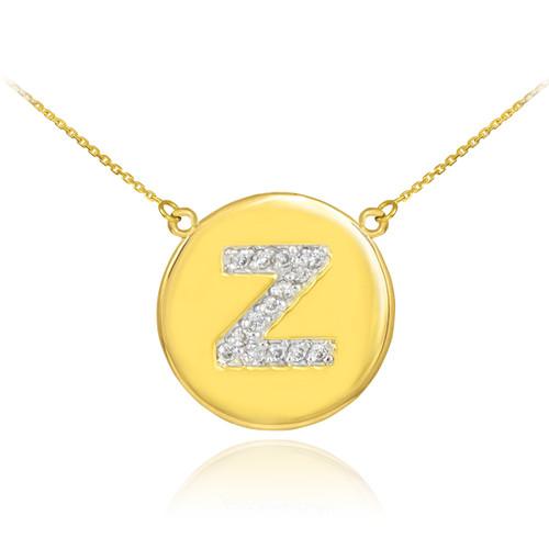 "14k Gold Letter ""Z"" Initial Diamond Disc Necklace"