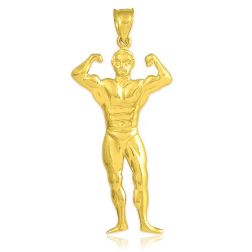 Gold Bodybuilder Sports Charm Pendant