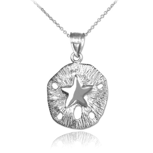 Silver Textured Sand Dollar Pendant Necklace