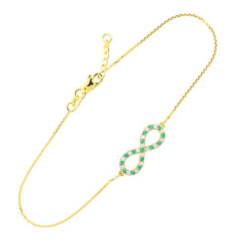 14K Gold Diamond and Emerald Infinity Bracelet