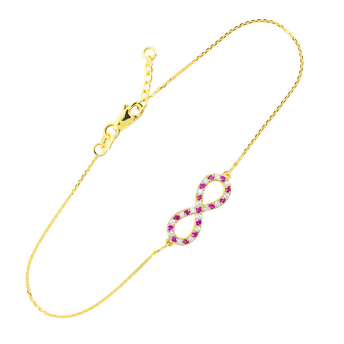 14K Gold Diamond and Ruby Infinity Bracelet