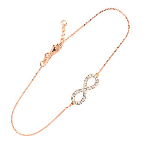 14K Rose Gold Infinity Clear CZ Pendant Bracelet