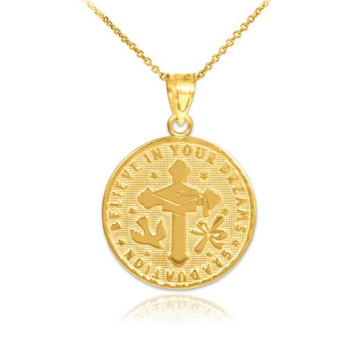 Gold Reversible Graduation Medallion Charm Pendant Necklace
