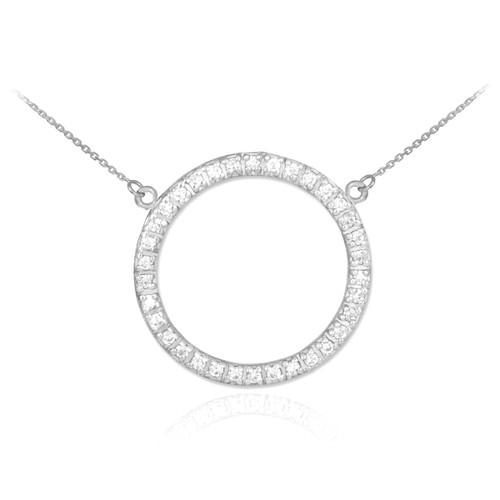 14K White Gold Eternity Circle of Life CZ Necklace