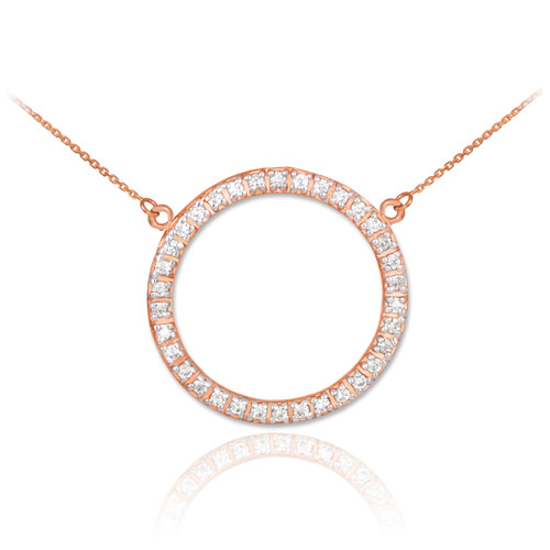 14K Rose Gold Eternity Circle of Life CZ Necklace