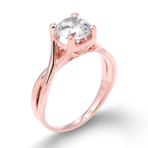 Rose Gold Infinity Band CZ Solitaire Engagement Ring