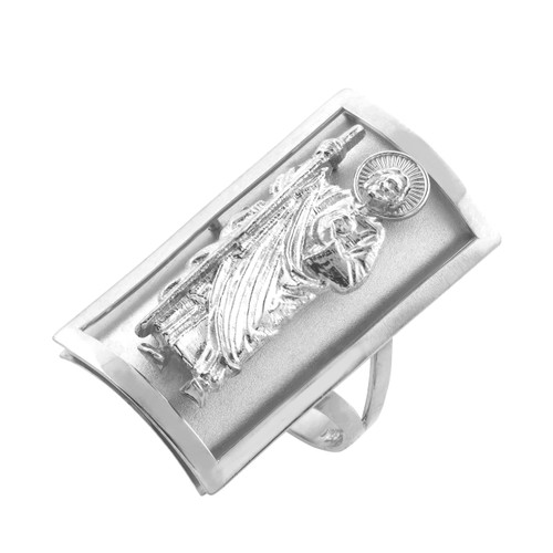 Silver Saint Jude Fancy Ring 1.2 Inches