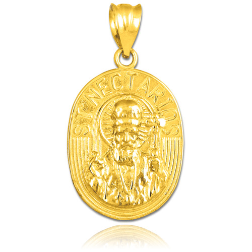 Gold Saint Nectarios Medallion Charm Pendant
