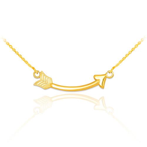 14k Gold Sideways Curved Arrow Necklace