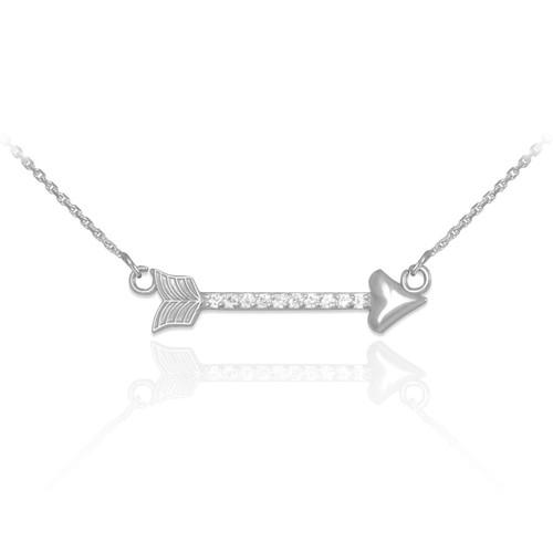14k White Gold CZ Studded Arrow Necklace