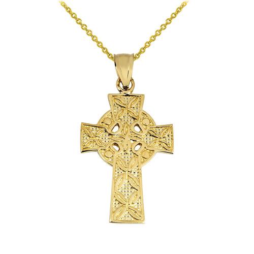 Gold Irish Celtic Cross Pendant
