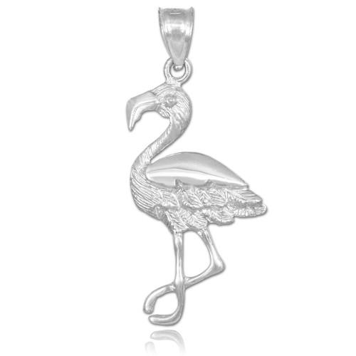 white gold flamingo pendant