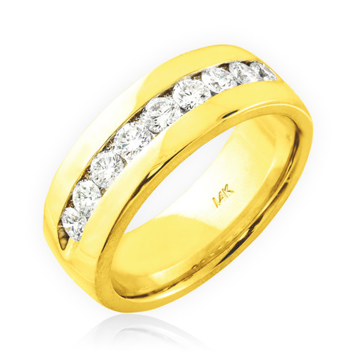 Men's gold diamond wedding  ring band