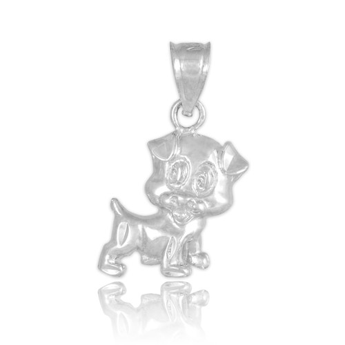 White Gold Cute Puppy Charm Necklace