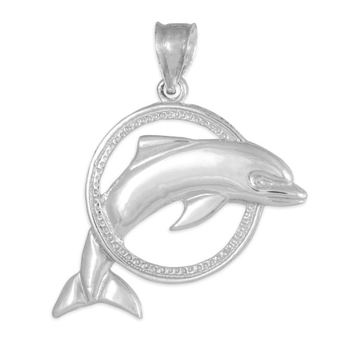White Gold Hoop Jumping Dolphin Pendant