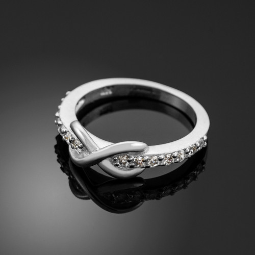White Gold Infinity Clear CZ Knukle Ring