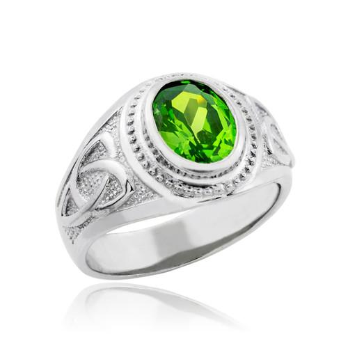 White Gold Celtic Emerald Green Oval CZ Men's Ring