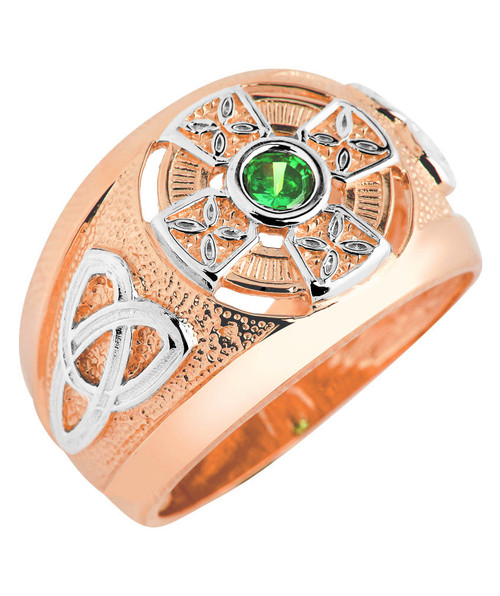 Two-Tone Rose Gold Celtic Green Emerald CZ Mens Ring