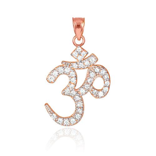 14k Rose Gold Om  Diamond Pendant Necklace
