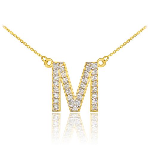 "14k Gold Letter ""M"" Diamond Initial Monogram Necklace"