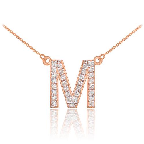 "14k Rose Gold Letter ""M"" Diamond Initial Monogram Necklace"