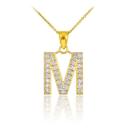 "Gold Letter ""M"" Initial Diamond Monogram Pendant Necklace"