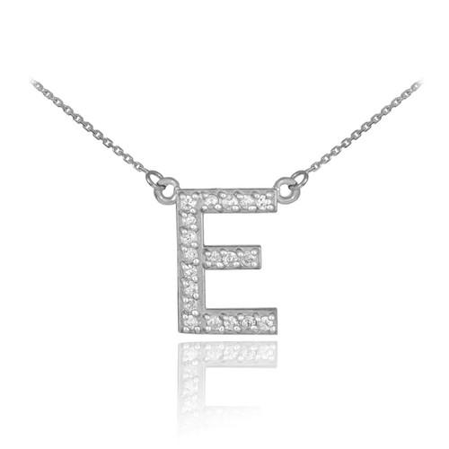 "14k White Gold Letter ""E"" Diamond Initial Necklace"