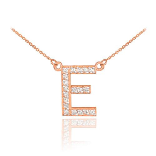 "14k Rose Gold Letter ""E"" Diamond Initial Necklace"