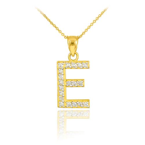 "Gold Letter ""E"" Diamond Initial Pendant Necklace"