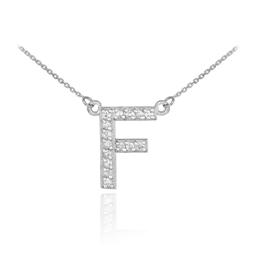 """14k White Gold Letter """"F"""" Diamond Initial Necklace"""