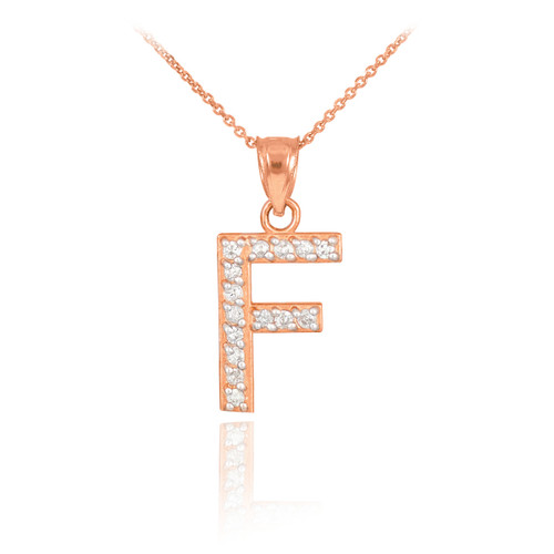 """Rose Gold Letter """"F"""" Diamond Initial Pendant Necklace"""