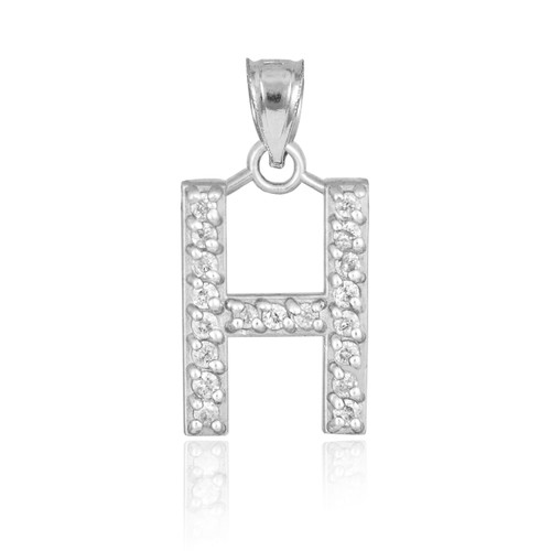 """White Gold Letter """"H"""" Diamond Initial Pendant Necklace"""