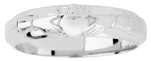 Silver Claddagh Wedding Band Mens
