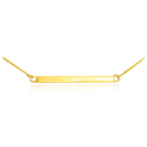14K Solid Gold Straight Bar Necklace