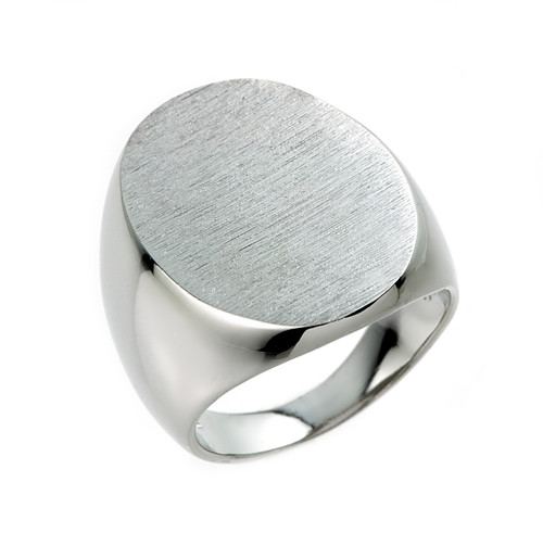 Sterling Silver Large Oval Signet Men's Ring