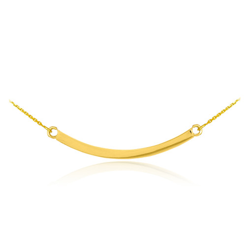 14K Solid Gold Curved Bar Necklace