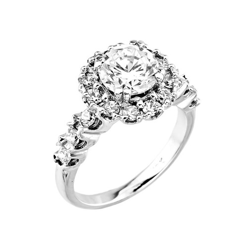 14K White Gold CZ Solitaire Engagement Ring