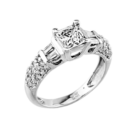14k White Gold CZ Solitaire Engagement Ladies Ring
