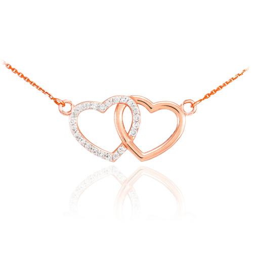 14K Rose Gold Double Heart Diamond Necklace