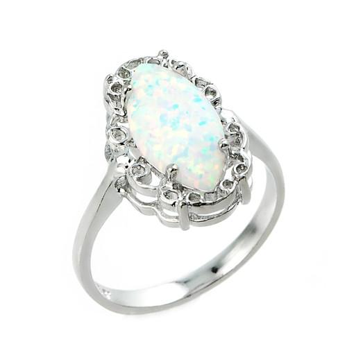 Sterling Silver Opal Gemstone Ring