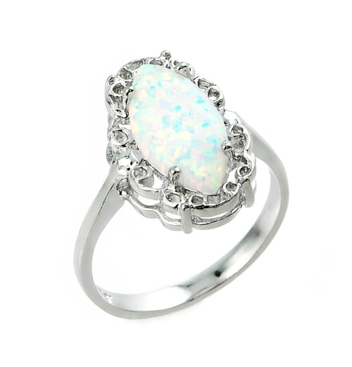 Sterling Silver Opal Gemstone Ring