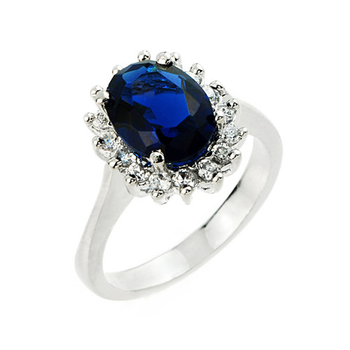 Princess Diana Sterling Silver Ladies Lcs Sapphire And Cz Gemstone Ring