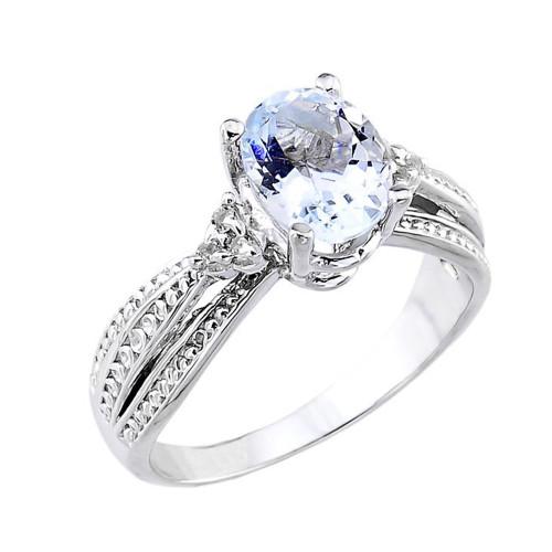 White Gold Aquamarine and Diamond Proposal Ring