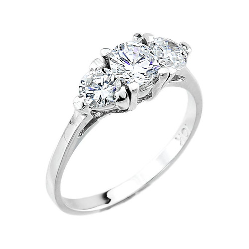 10k White Gold 3 Stone Cubic Zirconia Engagement Ring