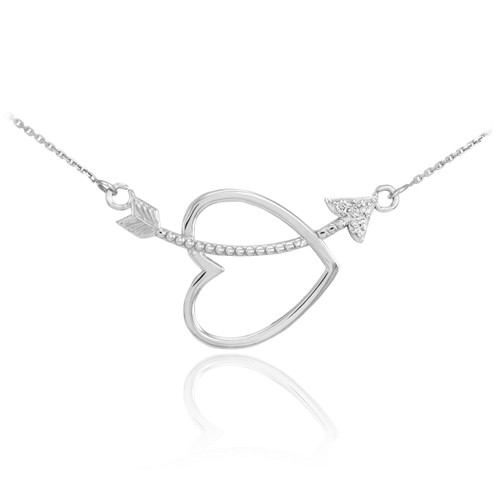 925 Sterling Silver Heart & Arrow CZ Necklace