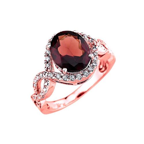 Rose Gold Ladies Garnet Ring