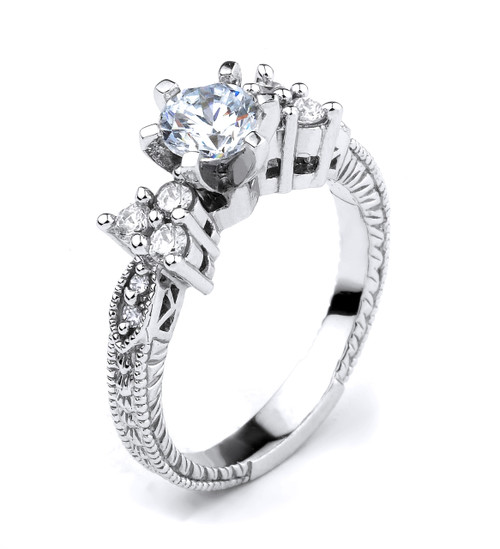 14k White Gold Round CZ Solitaire Engagement Ladies Ring