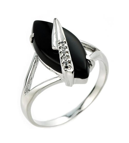 10k White Gold Black Onyx Ring