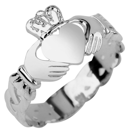 Ladies Claddagh Ring with Trinity Band in Sterling Silver